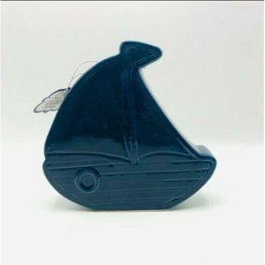 Beriwinkle Ceramic Coin Bank Sailboat Décor
